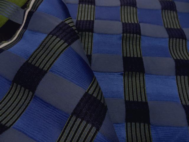 Tissu ameublement carreaux satin bleu noir 1