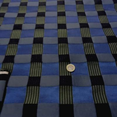 Tissu ameublement carreaux satin bleu noir 2