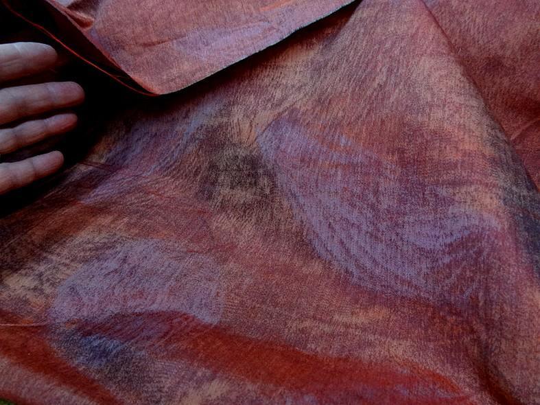 Tissu ameublement satine marbre corail et violet gris 5