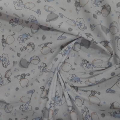 Tissu coton blanc imprime motifs enfant bleu gris009