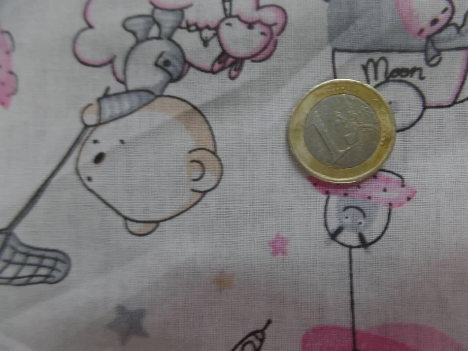 Tissu coton blanc imprime motifs enfant rose gris8