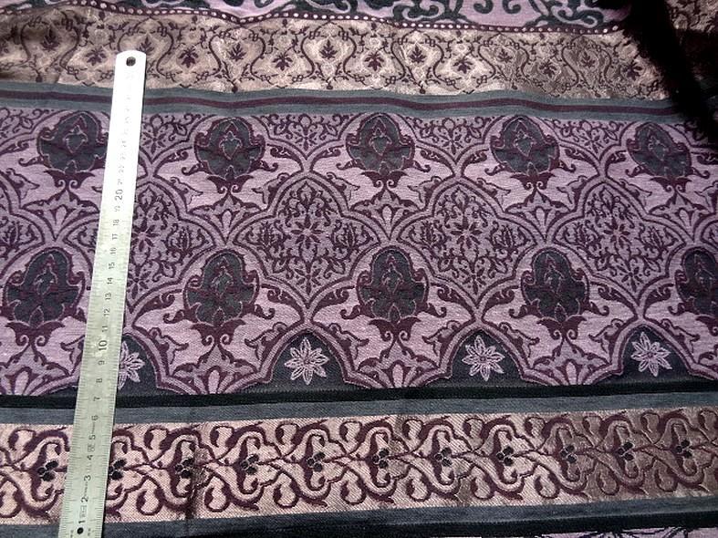 Tissu d ameublement damas prune et noir 2