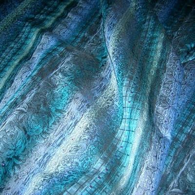 Tissu faconne bleu1840