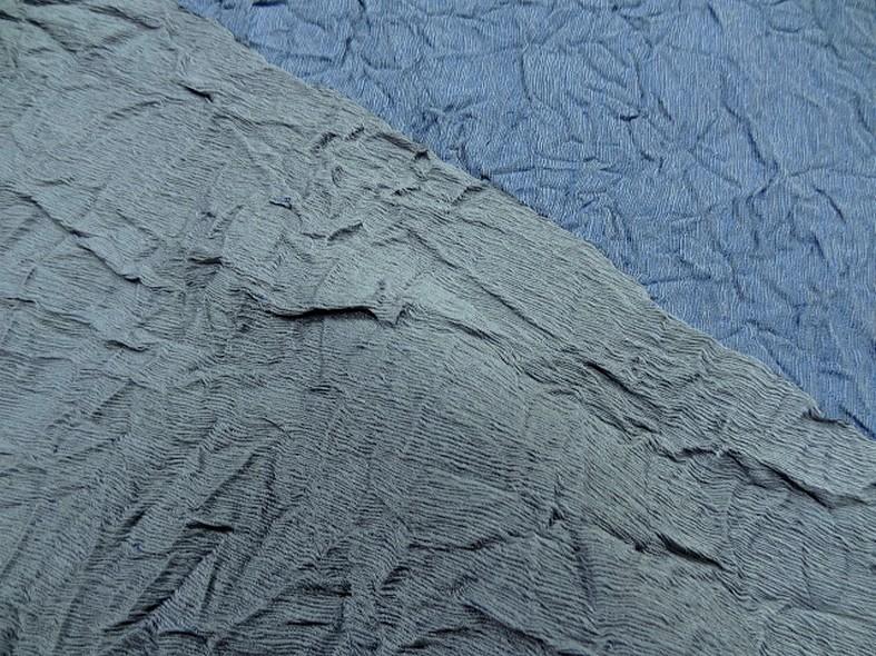 Tissu froissage papier reversible lapis lazulli et gris bleute 2 1