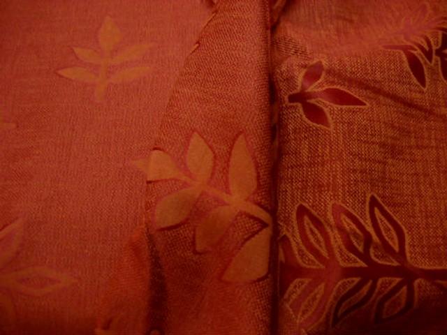 Tissu melange corail orange motifs damasses sorbier 3