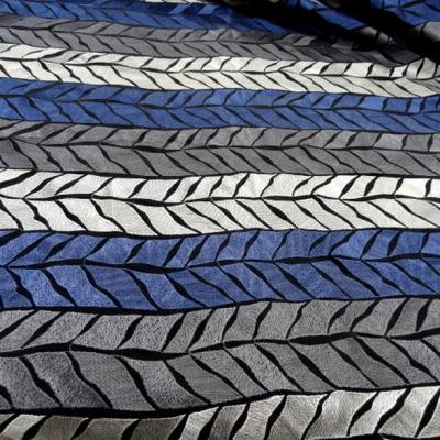 Tissu polyester brode epis de ble bleu gris clair et fonce 3