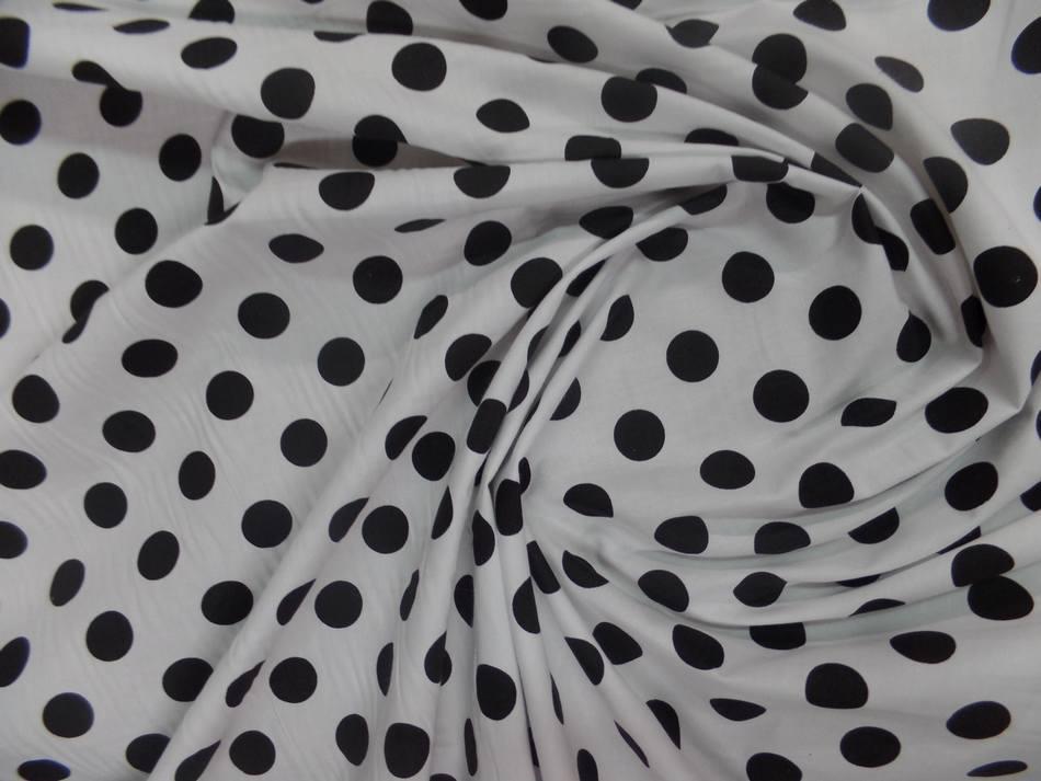 Tissu popeline coton blanc a pois noir