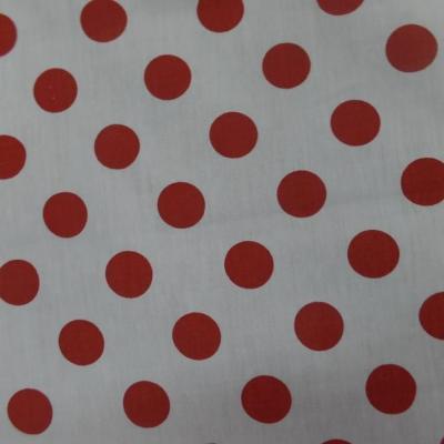Tissu popeline coton blanc a pois rouge