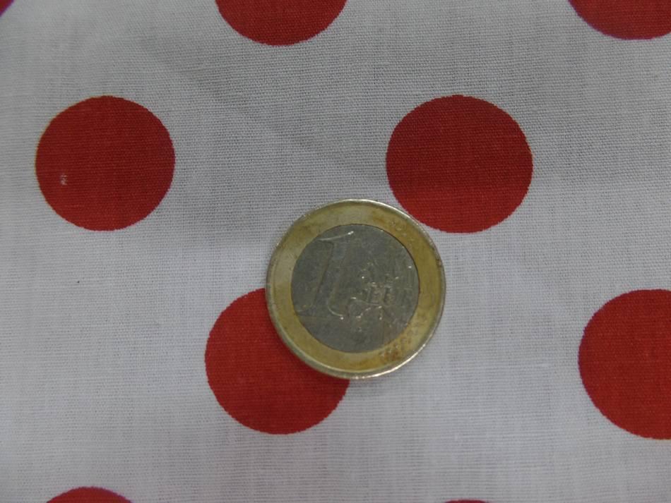 Tissu popeline coton 110GR ,120 FILS blanc a pois rouge