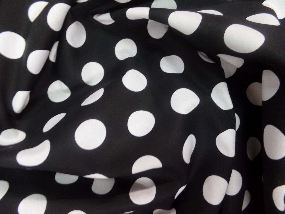 Tissu popeline coton noire a pois blanc