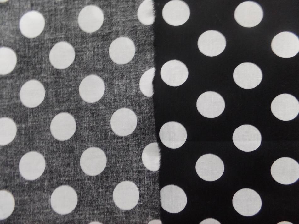 Tissu popeline coton 100% noire a pois blanc