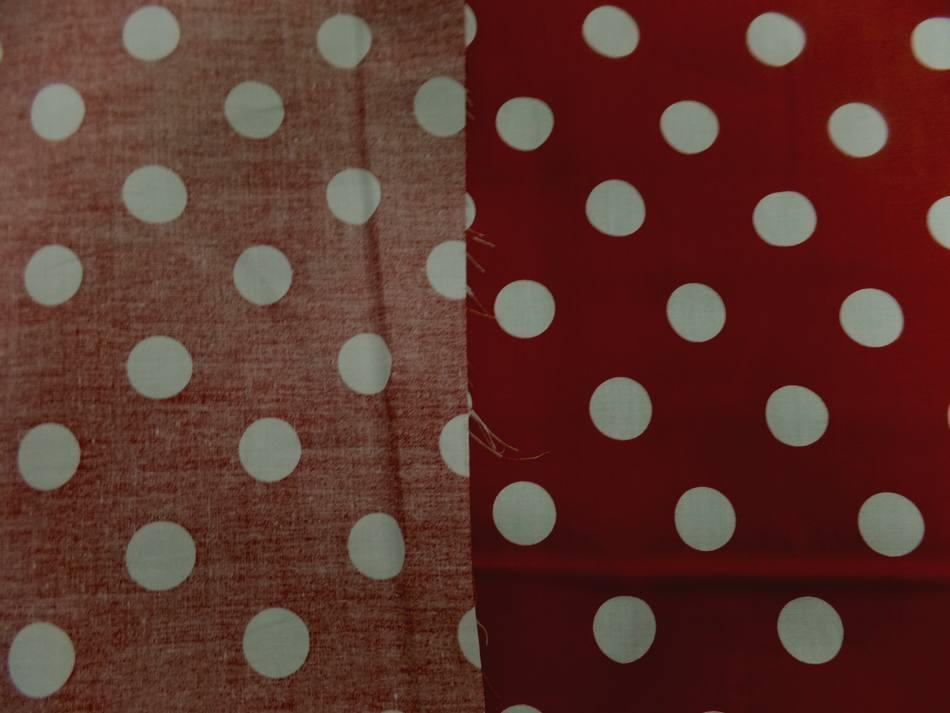 Tissu popeline coton rouge a pois blanc coccinelle