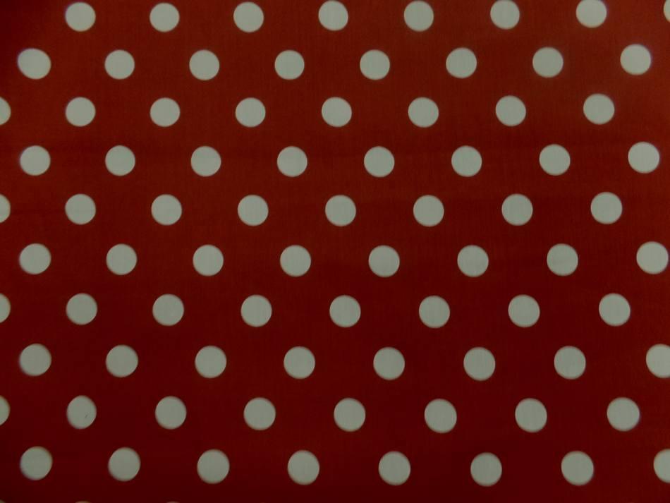 Tissu popeline coton rouge a pois blanc