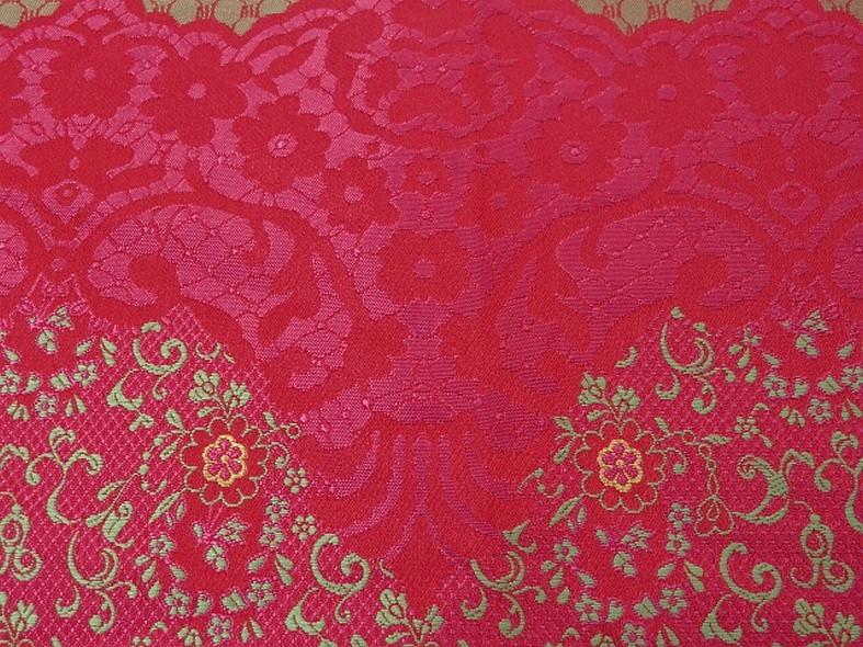 Tissu satine motifs tisses fuchsia et or inspiration indienne 3