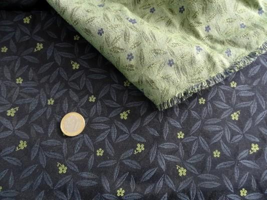 Tissu tapissier damassé bleu nuit et vert jade 2