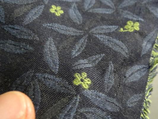 Tissu tapissier damassé bleu nuit et vert jade 3