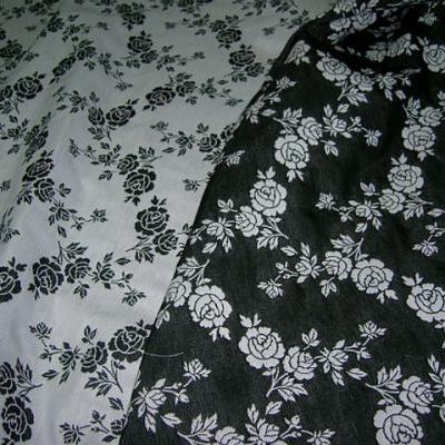Tissu tapissier damasse noir blanc fleuri 2