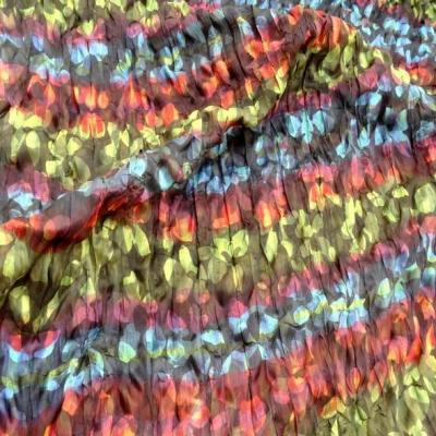 Tissu voile fin froisse cloque fleuri teintes en camaieux 1