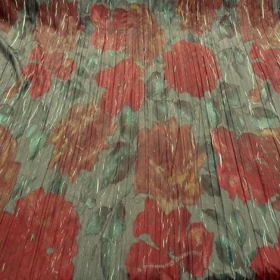 Tissu voile froisse plisse grosses fleurs 2