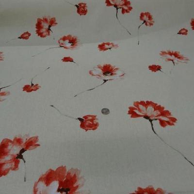 Toile coton beige imprime fleurs