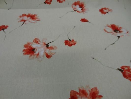 Toile coton beige imprime fleurs6