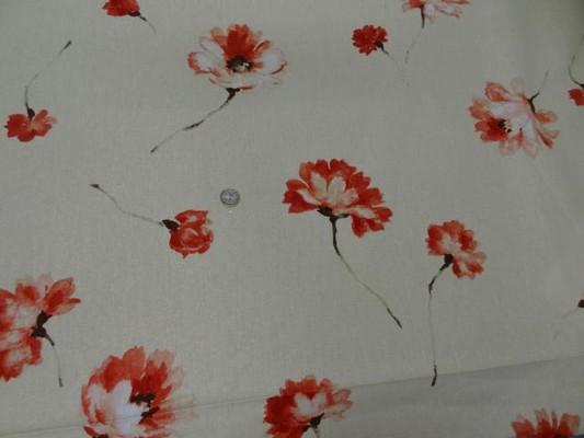 Toile coton beige imprime fleurs7