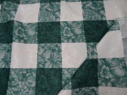 Toile coton damassee vert blanc 1