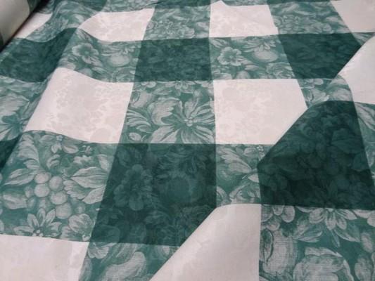 Toile coton damassee vert blanc 2