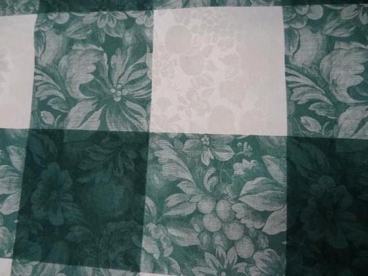 Toile coton damassee vert blanc 3