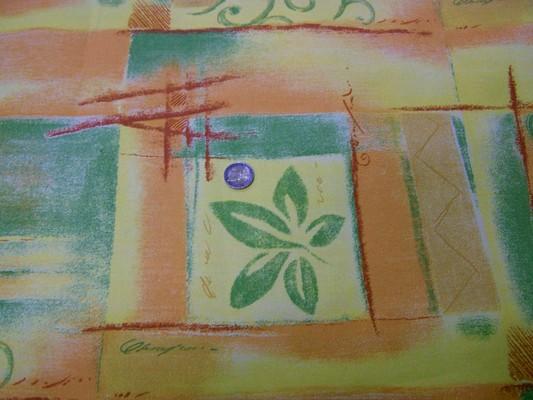 Toile coton imprimée jaune-orange-vert 2