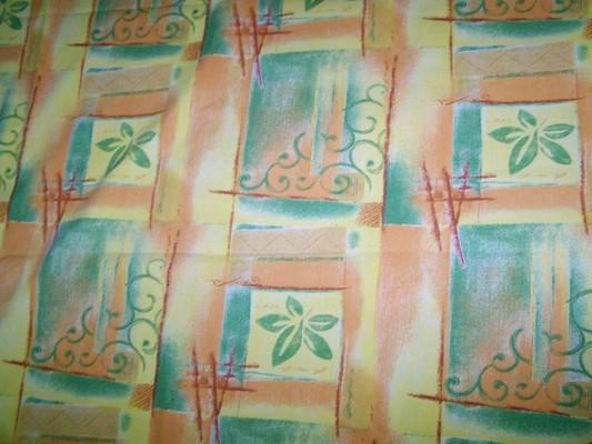 Toile coton imprimée jaune-orange-vert