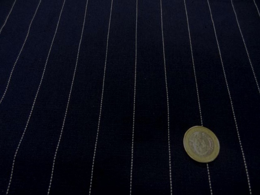 Toile coton lin bleu marine rayure tennis blanche 3