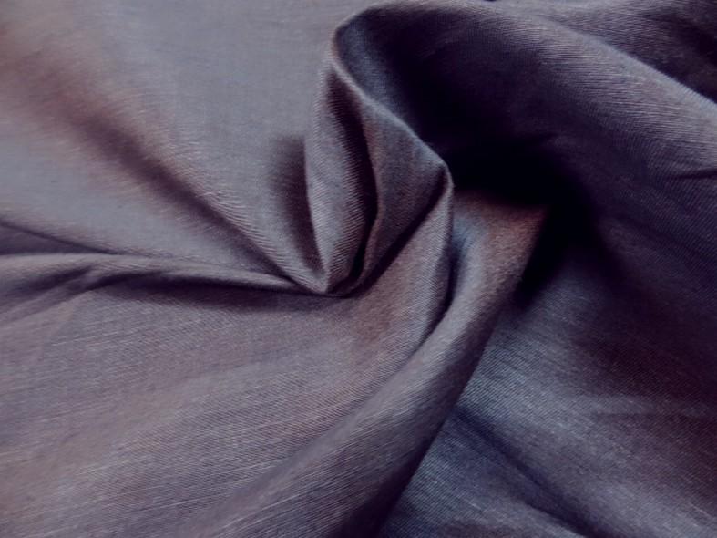 Toile coton melange tissage taffetas bleu et ocre roux 1