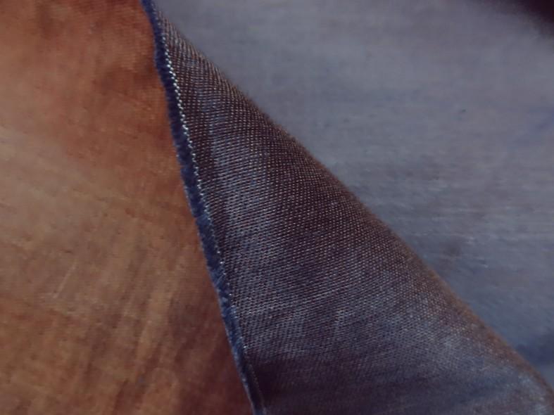 Toile coton melange tissage taffetas bleu et ocre roux 2