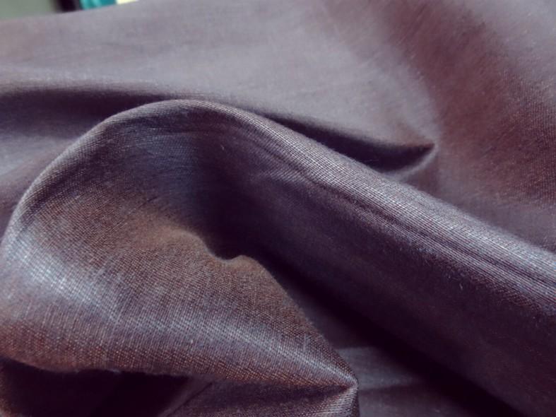 Toile coton melange tissage taffetas bleu et ocre roux 3