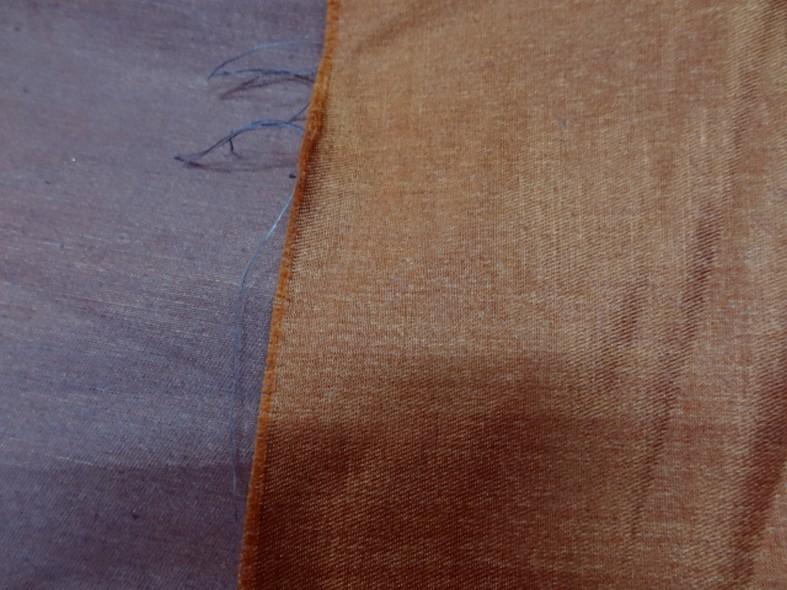 Toile coton melange tissage taffetas bleu et ocre roux 4