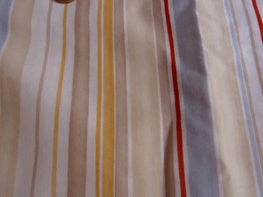 Toile coton rayée beige-ocre-bleu ciel-rouge 02
