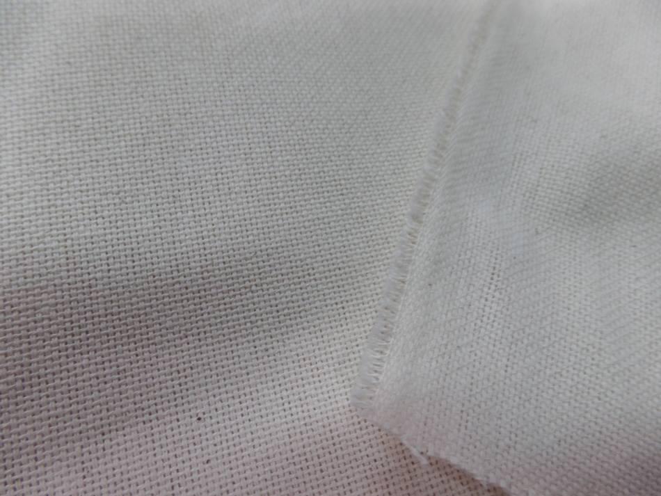Toile coton tissage natte blanc casse 1