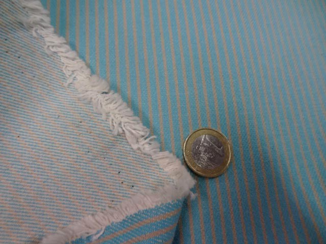 Toile de jean bleu rayee jaune clair 3