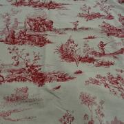 Toile de jouy en lin ecru motif vieux rose 1