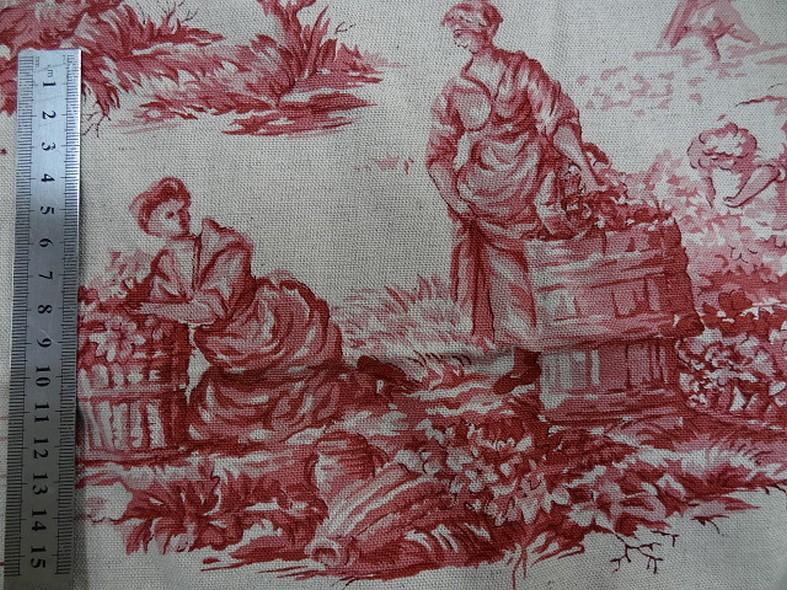 Toile de jouy en lin ecru motif vieux rose 4