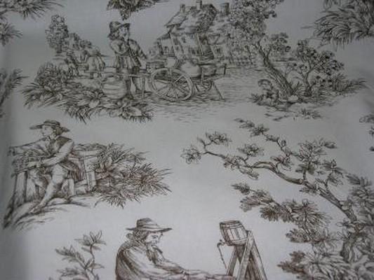 Toile de Jouy motifs marron 1