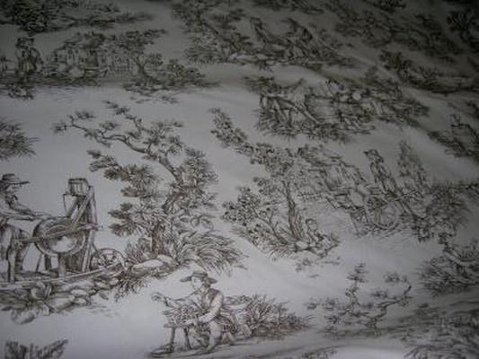Toile de Jouy motifs marron 3
