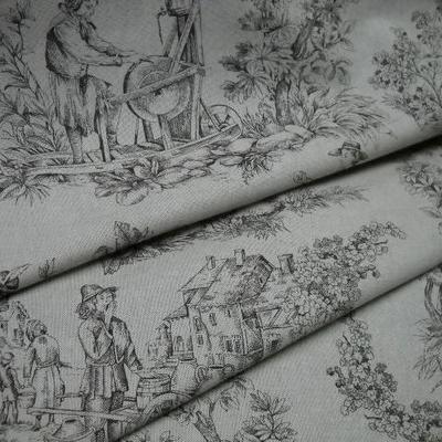 Toile de jouy polyester lin marron 2