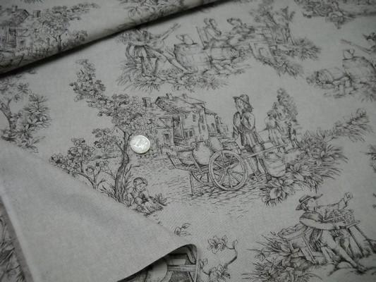 Toile de jouy polyester lin marron 3