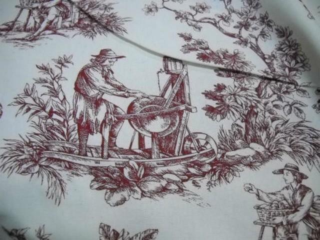 Toile de jouy rouge en toile coton1