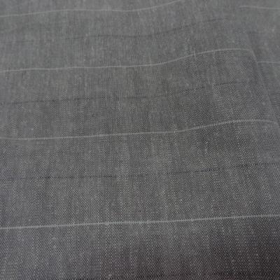 Toile de lin gris chinee a bandes 1