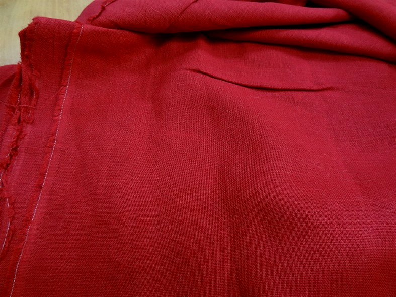 Toile de lin rouge cerise 1