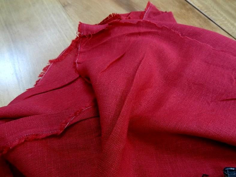 Toile de lin rouge cerise 2