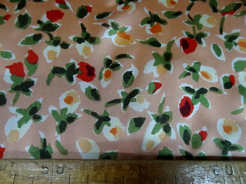 Twill de soie fond saumon fleuri 4